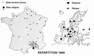 répartition du castor en france et en europe en 1909
